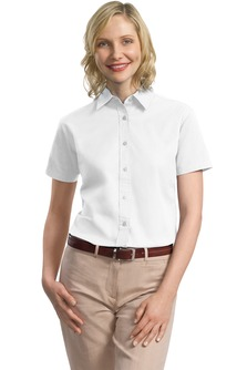 USU Women's SS Cotton Twill Shirt - Small-White - Small-White - Small-Khaki - Small-Navy