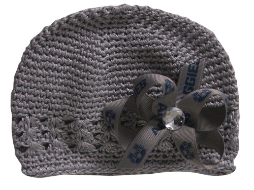 Gray Crochet Hat w/ Bow
